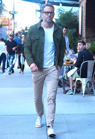 Ryan Reynolds wearing slim cropped chinos | ASOS Style Feed