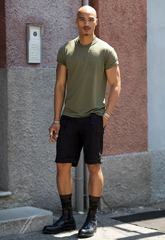 Model wearing a khaki tee | ASOS Style Feed