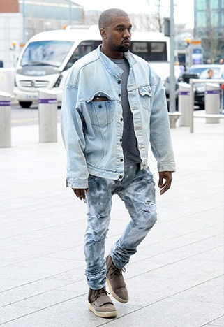Kanye West wearing a denim jacket | ASOS Style Feed