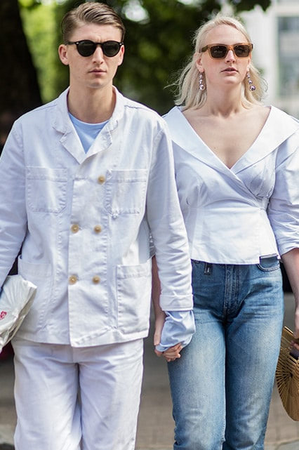 Two street-stylers wearing white denim | ASOS Style Feed