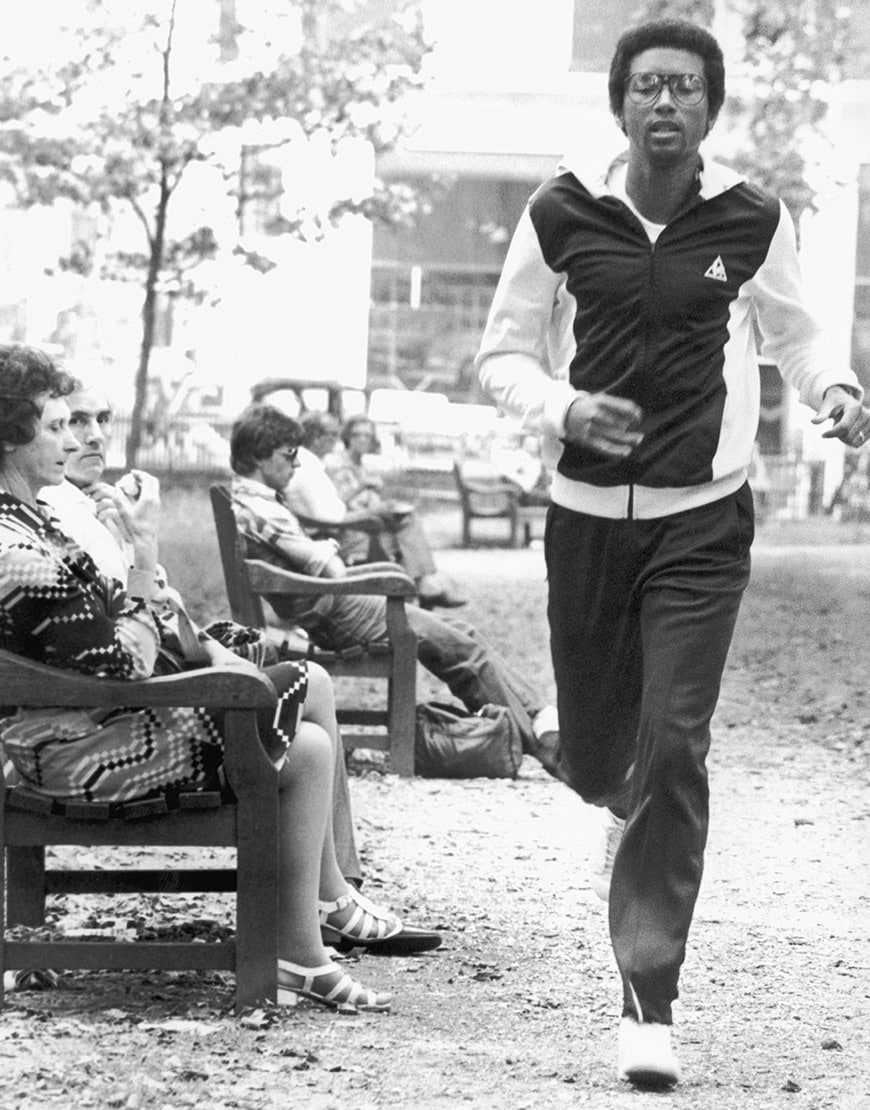 Tennis player Arthur Ashe wearing a tracksuit | ASOS Style Feed