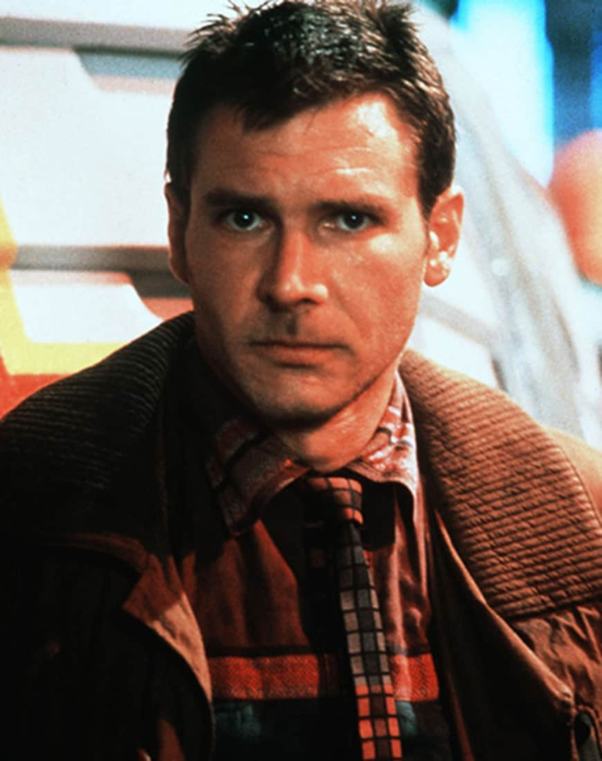A picture of Harrison Ford in Blade Runner.