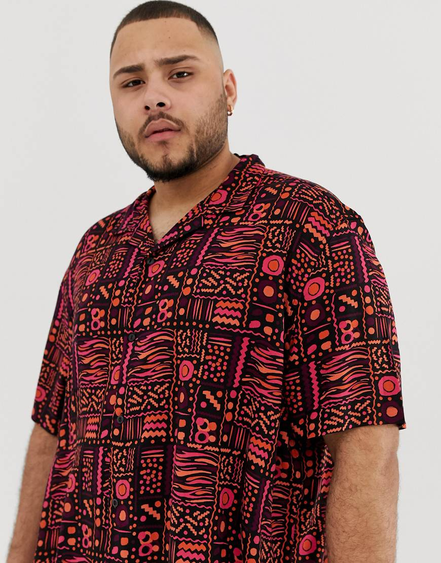 A picture of a man wearing a plus-size shirt with a vintage-style print. Available at ASOS.