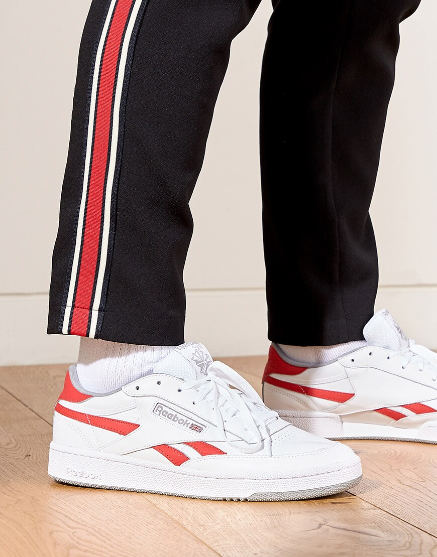A close-up of Seb's Reebok Revenge trainers available at ASOS | ASOS Style Feed