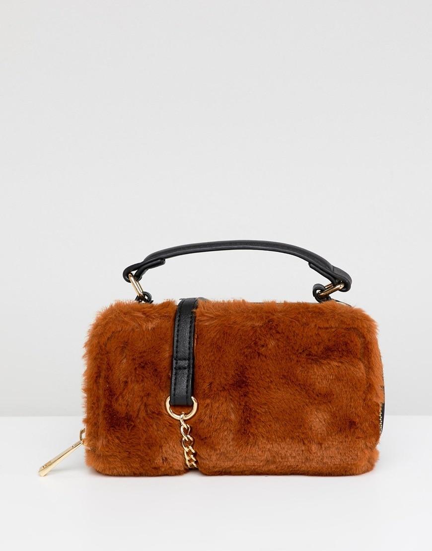 ASOS DESIGN camera bag with faux-fur detail