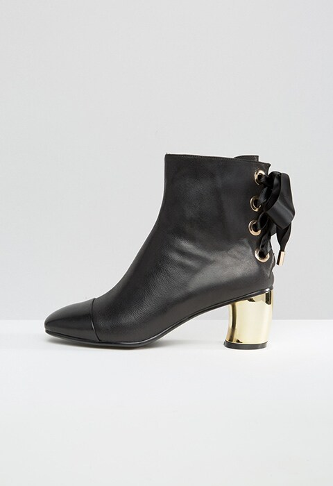Lavish Alice leather lace-up ankle boots with metallic heel, available at ASOS | ASOS Fashion & Beauty Feed