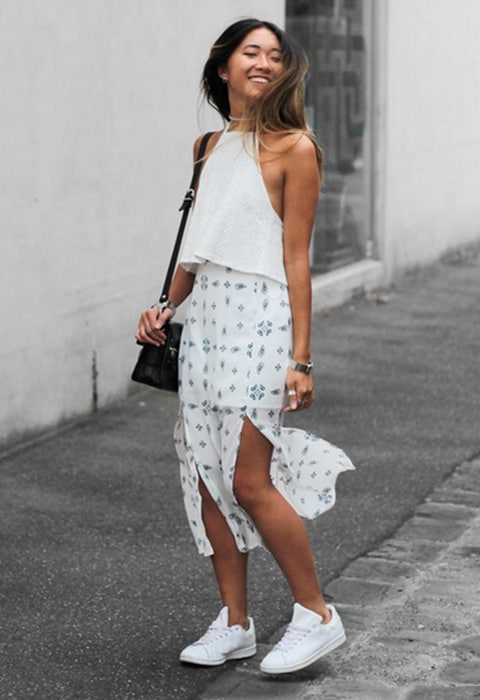 Blogger wearing all-white on holiday available at ASOS | ASOS Fashion & Beauty Feed