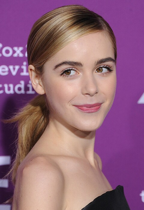 Kiernan Shipka with straightened low ponytail