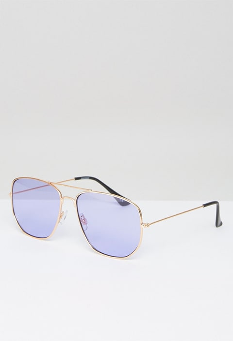 Model wearing square aviator glasses with lilac lens, available at ASOS | ASOS Fashion & Beauty Feed