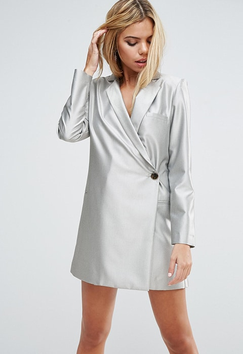 ASOS Tux Longline Blazer in Silver, available at ASOS. | ASOS Fashion & Beauty Feed