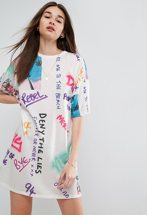 ASOS Graffiti Print White T-Shirt Dress £25 | ASOS Fashion & Beauty Feed