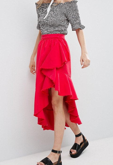 ASOS Denim Flamenco Skirt in Red £40 | ASOS Fashion & Beauty Feed