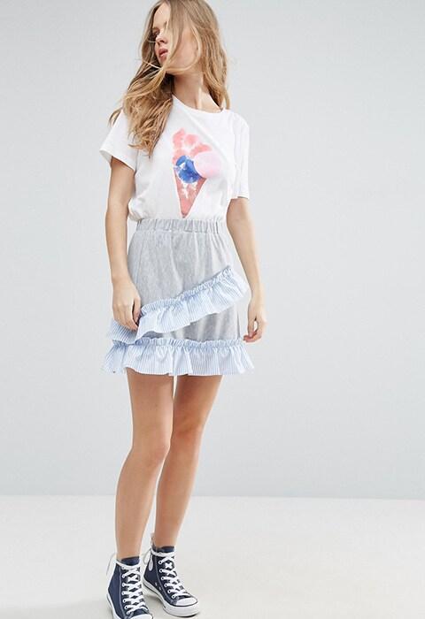 ASOS Mini Skater Skirt with Stripe Woven Trim, was £20, now £10 | ASOS Fashion & Beauty Feed