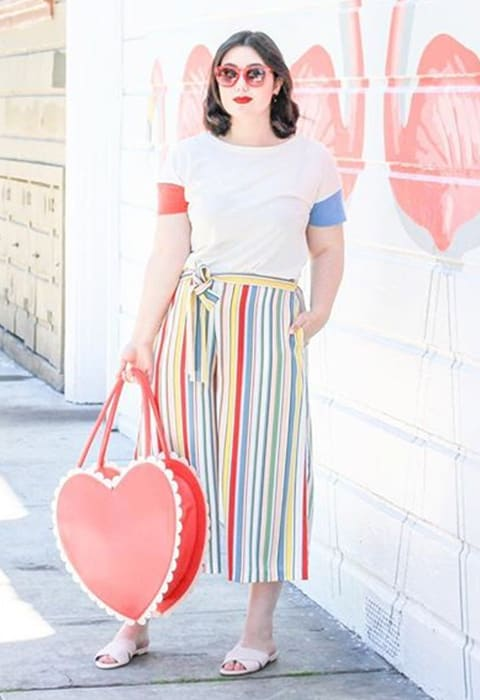 #AsSeenOnMe blogger wearing striped culottes | ASOS Fashion & Beauty Feed