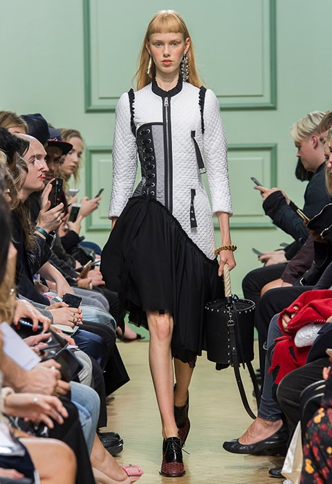 JW Anderson SS17 catwalk asymmetric black skirt with white detailed jacket and brogue shoes | ASOS Fashion & Beauty Feed