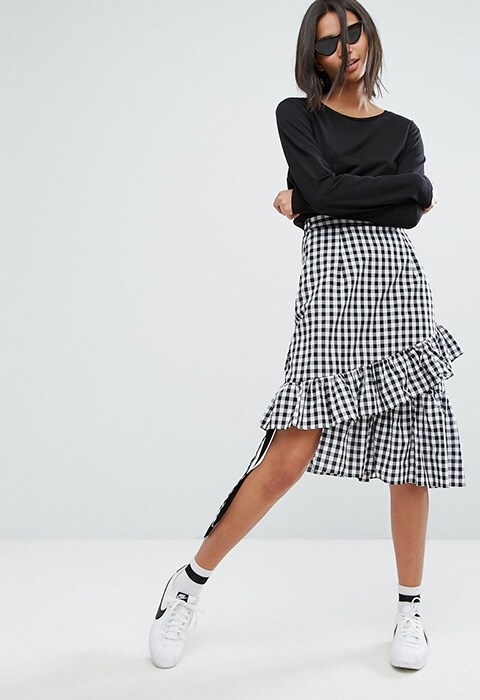 Stylenanda gingham asymmetric skirt
