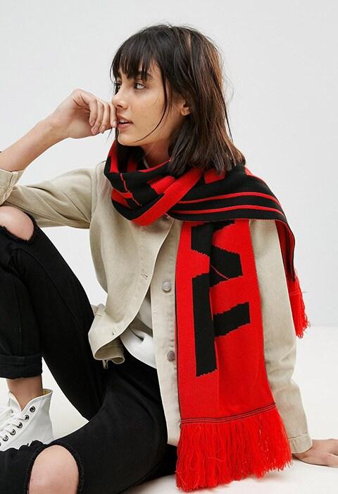 ASOS Worded Fan Scarf With Tassels | ASOS Fashion & Beauty Feed