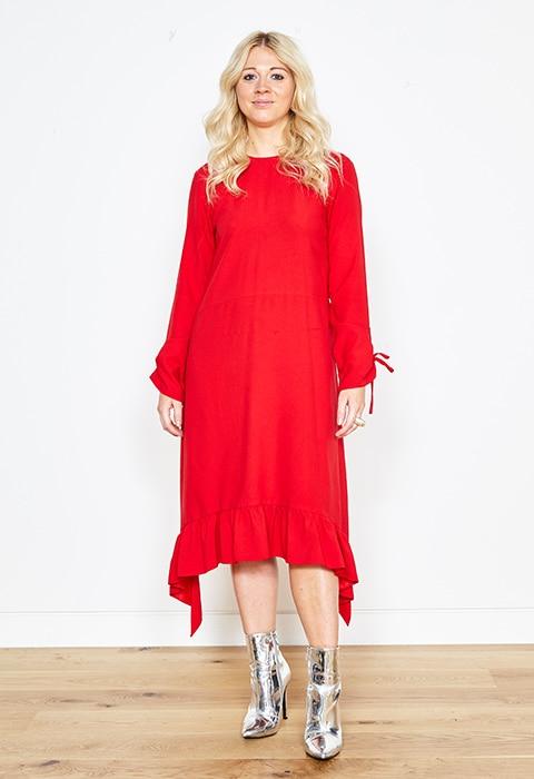 Lori Johnson wearing a red tea dress | ASOS Style Feed