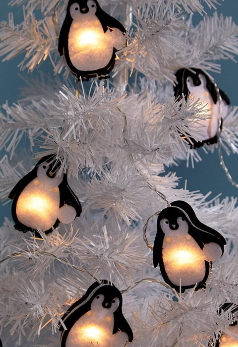 Paperchase Penguin Felt Christmas Lights Decoration