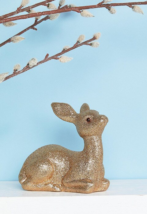 Paperchase Glitter Deer Christmas Decoration 140x130x55mm.