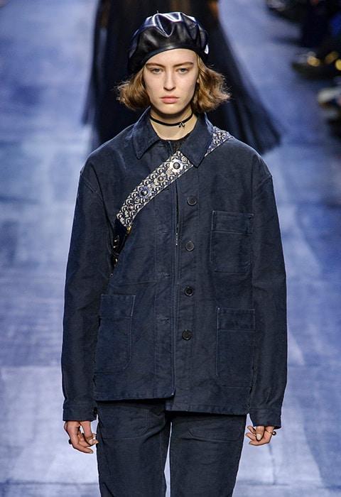 Christian Dior AW17 catwalk model wearing dark double denim look | ASOS Fashion & Beauty Feed