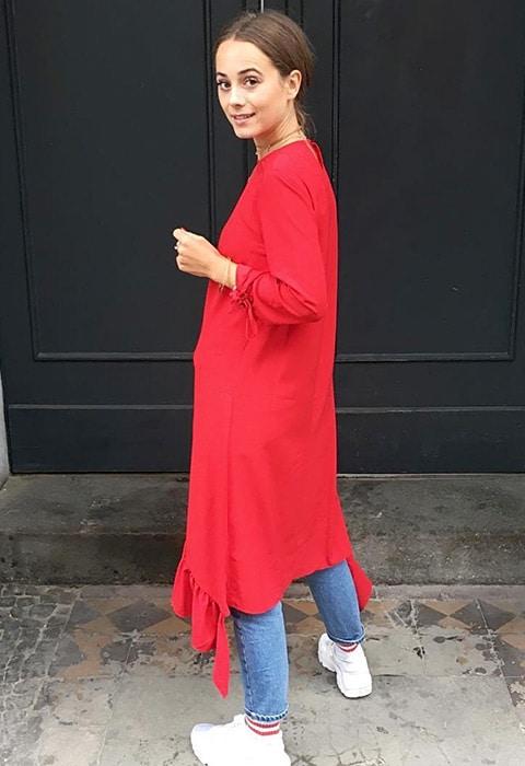 ASOS Insider Jana wearing a tea dress over jeans