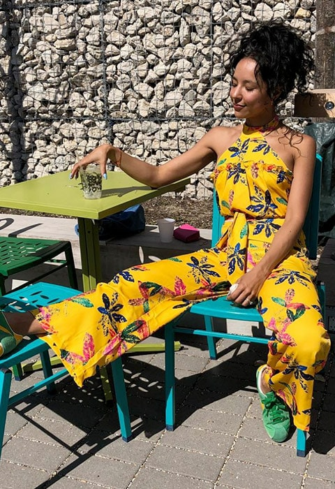 ASOS Elizabeth wearing a Made In Kenya jumpsuit, available at ASOS