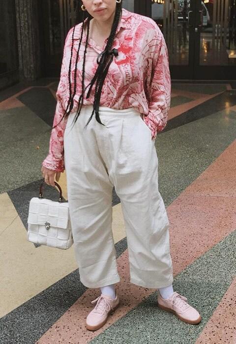 ASOS Insider Hannah wearing a horoscope printed shirt from Weekday