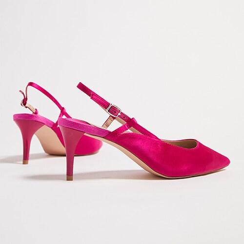 Faith Pink Satin Kitten Heeled Shoes
