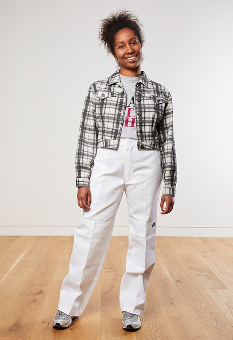 Lakeisha wearing a check boxy jacket