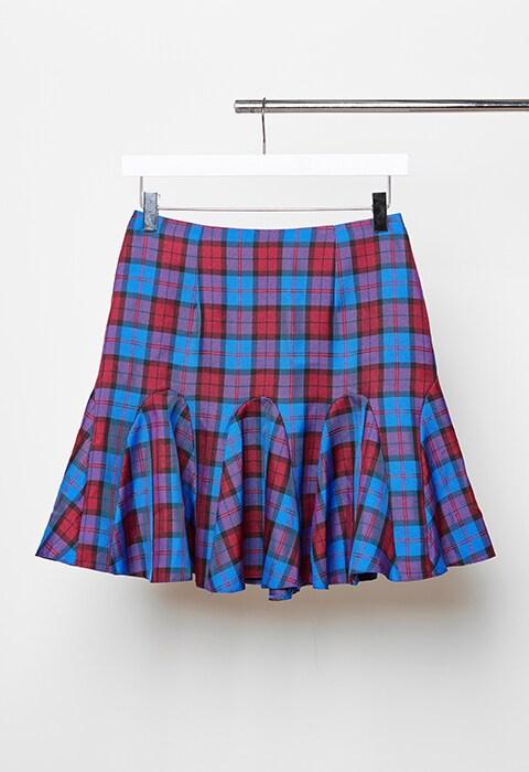 Gingham blue kilt skirt
