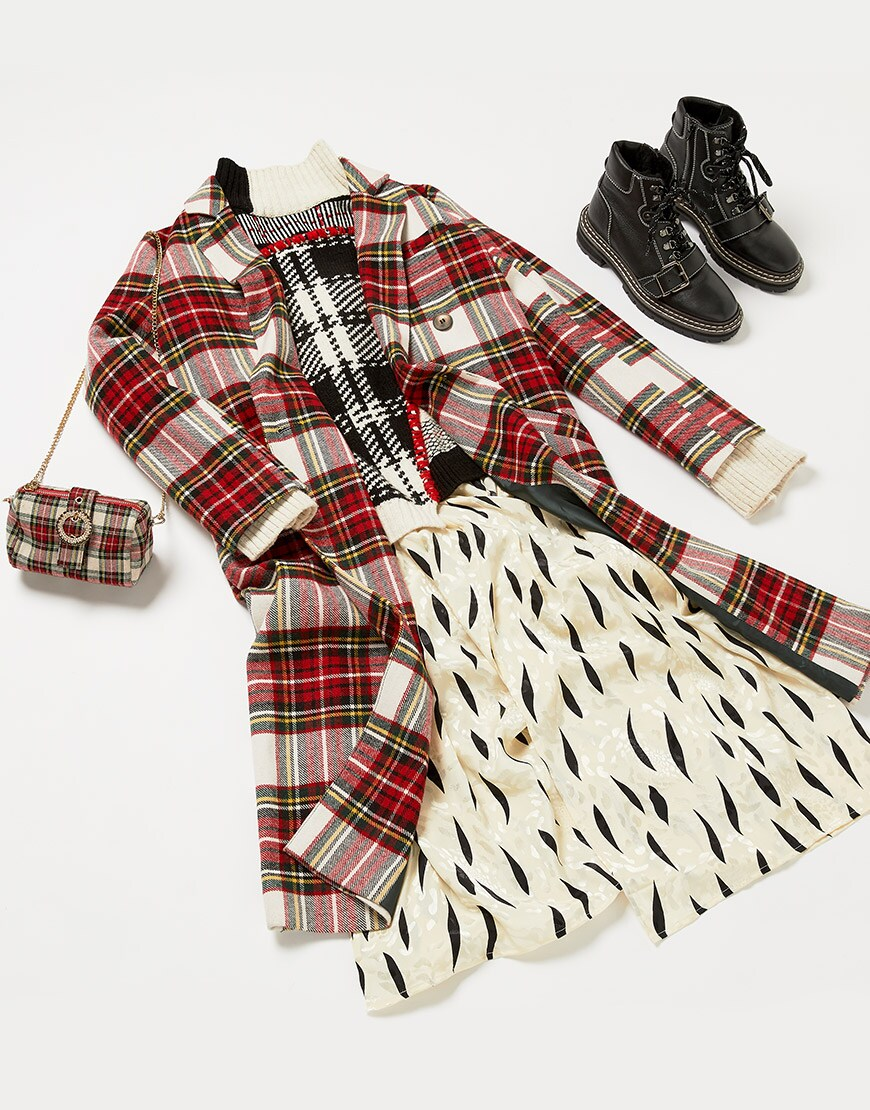 ASOS tartan coat with lace up black ankle boots for AW18