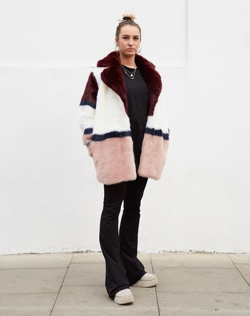 Jakke mid length faux fur coat in colour block available at ASOS | ASOS Style Feed