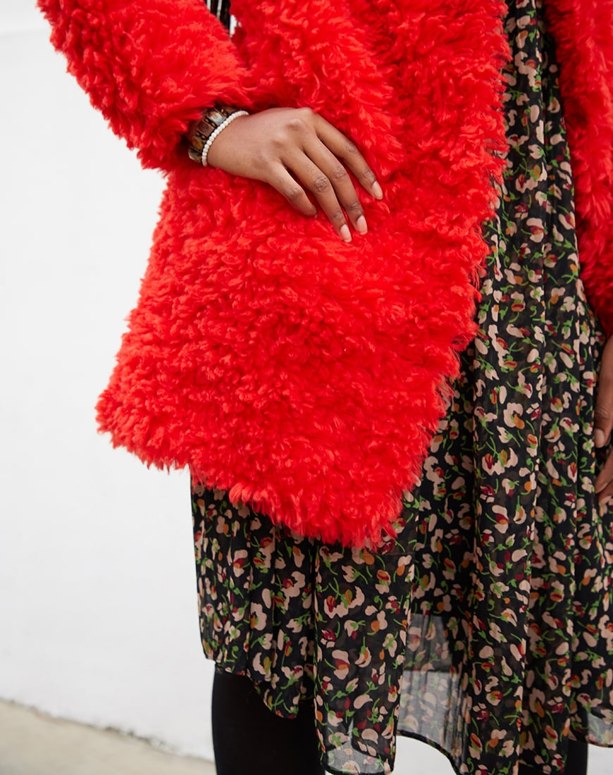 ASOS DESIGN coat in fluffy borg available at ASOS | ASOS Style Feed