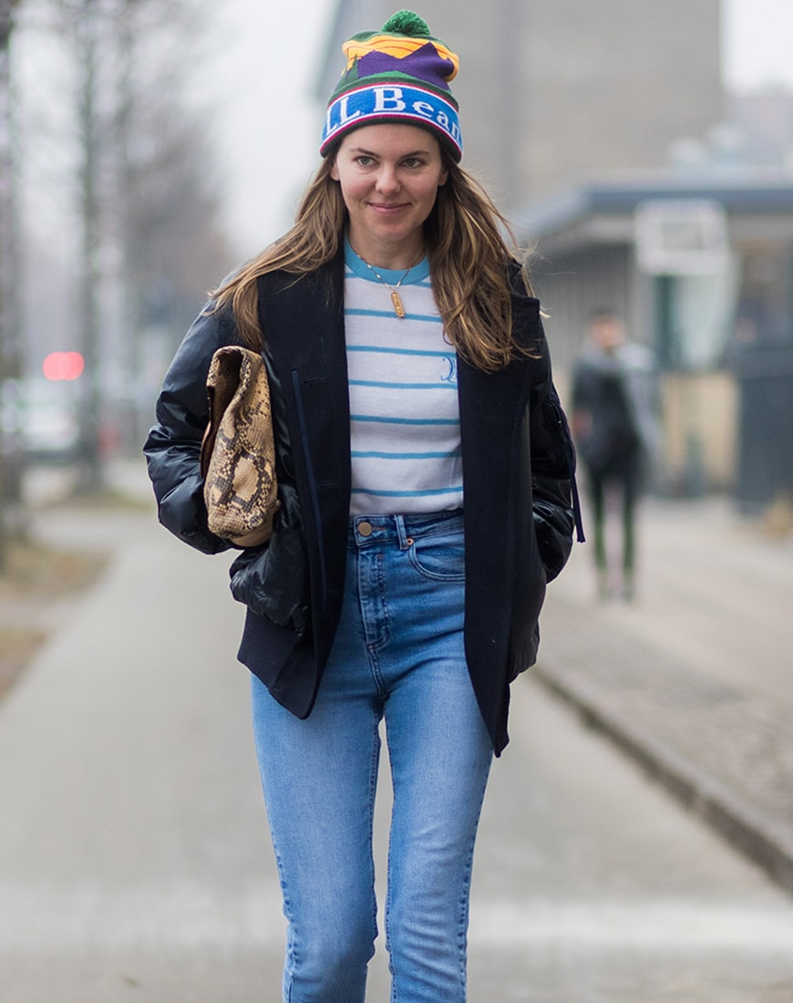 Street style image of a bobble hat | ASOS Style Feed
