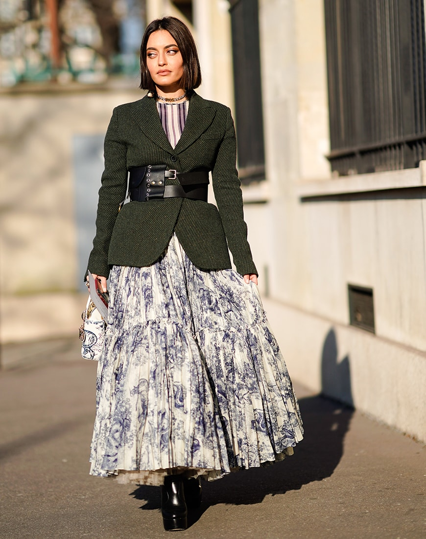 Street style of a blazer, waist belt and full skirt | ASOS Style Feed
