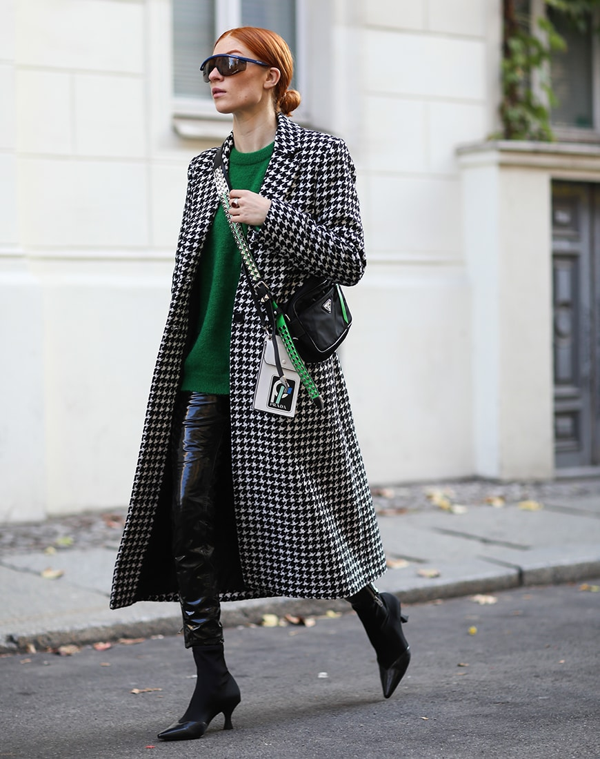 Street style look of a houndstooth coat | ASOS Style Feed
